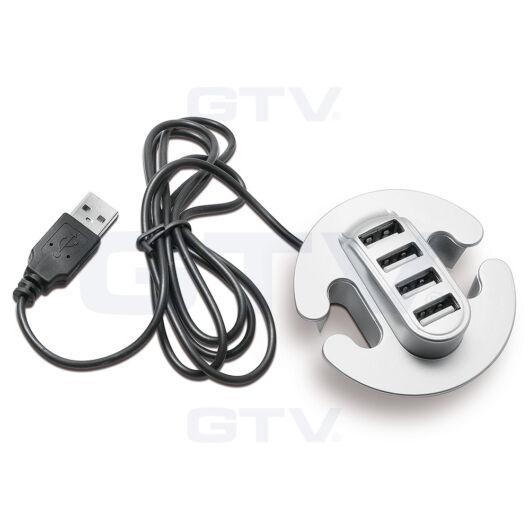 Beépíthető 4 portos USB csatlakozó fekete