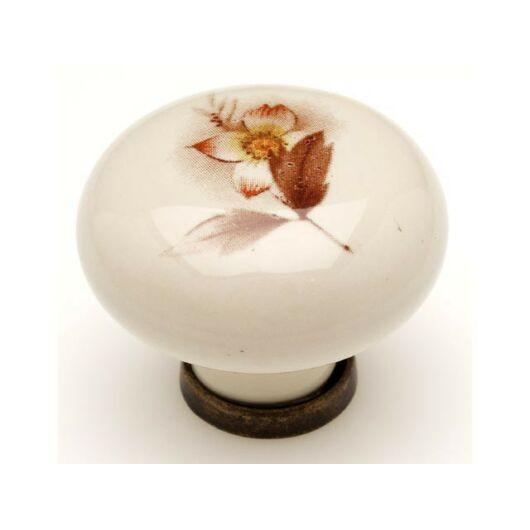P03 antikolt bronz - barna virág porcelán fogantyú