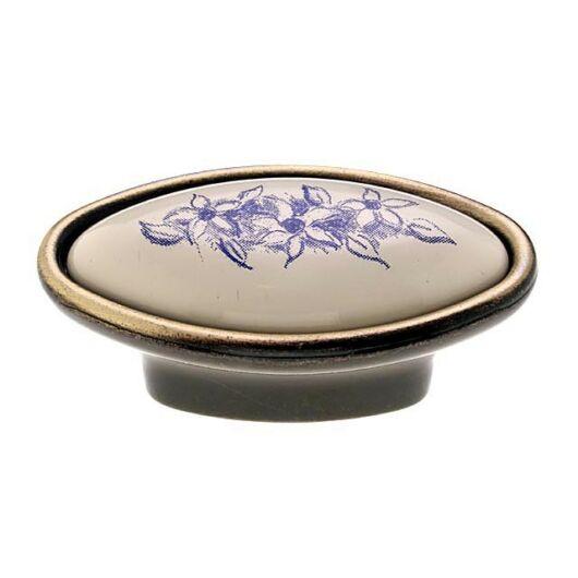 C2028 antikolt bronz - kék virág porcelán fogantyú