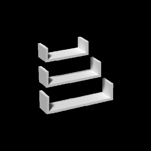 Fali polc U alakú fehér (3db-s)