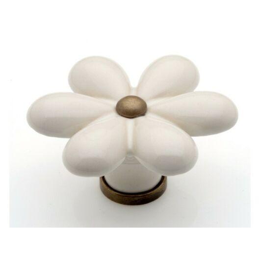 P23 antikolt bronz - minta nélküli porcelán fogantyú