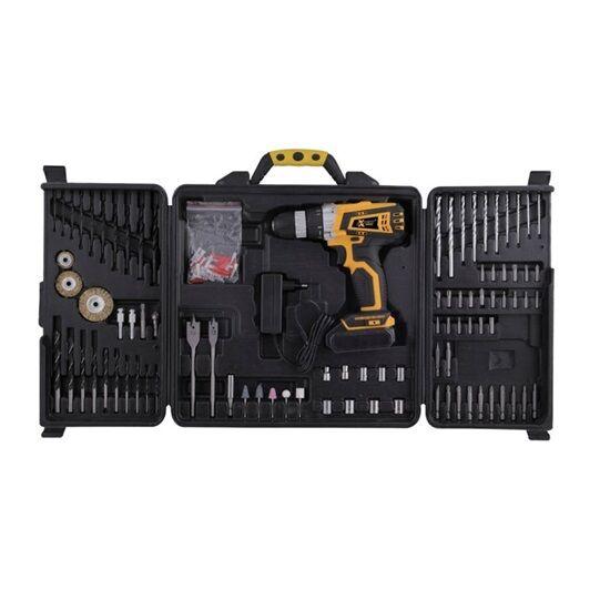 EXPERT akkumulátoros fúró/csavarozó 14,4 V Li-ION, 1,3 Ah, 25 Nm, 90 db-s készlet