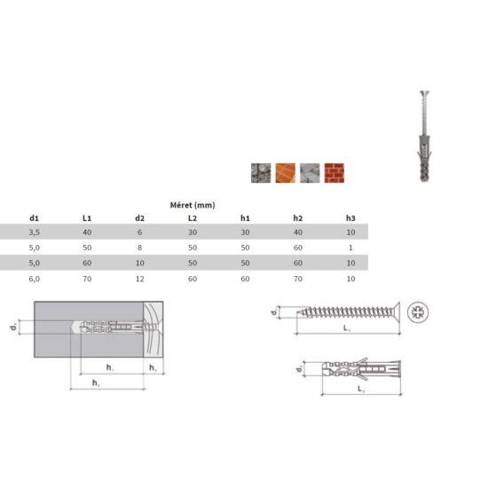 Tipli 3-Way 10x50 + Forgácslap csavar 5x60